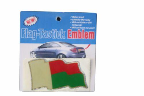 3.5 X 2 INCH MADAGASCAR  FLAG BUMPER STICKER FLAG-TASTICK EMBLEM..SIZE