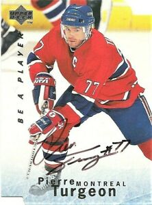 1995-96-Upper-Deck-Be-a-Player-S152-Pierre-Turgeon-Montreal-Canadiens-Auto-Card