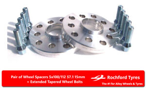 Wheel-Spacers-15mm-2-Spacer-Kit-5x112-57-1-Bolts-For-VW-Passat-B6-05-10