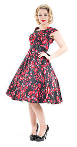 Classic-40-039-s-50-039-s-Vintage-Black-Red-Rose-Rockabilly-Prom-Tea-Dress-New-8-18