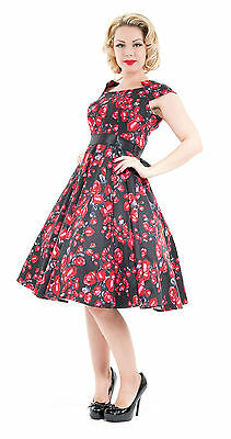 Classic 40's 50's Vintage  Black Red Rose Rockabilly Prom Tea Dress New 8-18