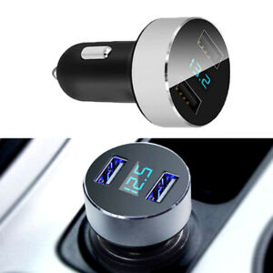 Dual-USB-5V-3-1A-Voltage-Blue-Adapter-Car-Charger-For-iPhone-Samsung-LED-Display