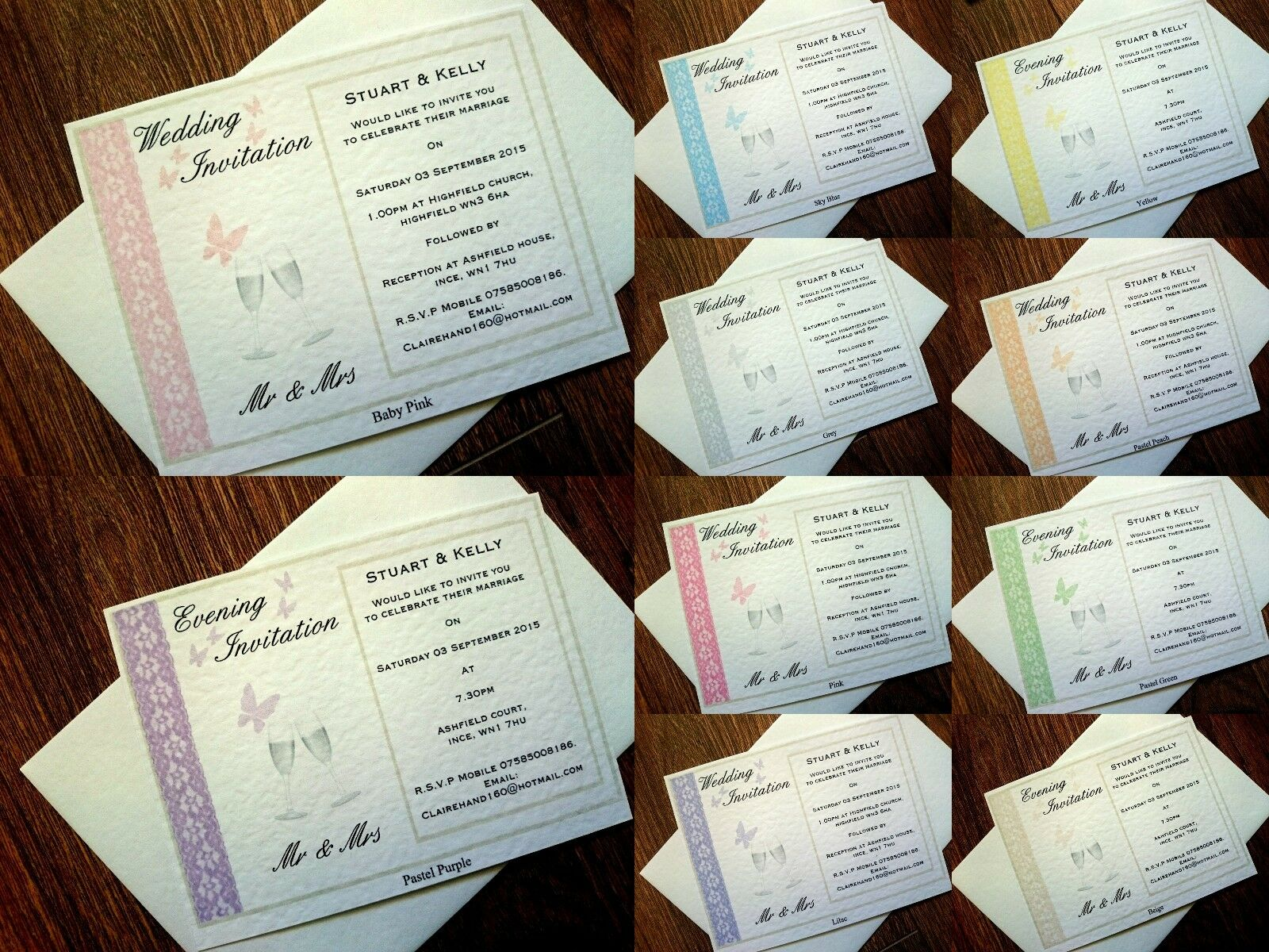 Personalised Wedding Evening invito Biglietto ColoreeeI & Busta  8 ColoreeeI Biglietto  11ae42