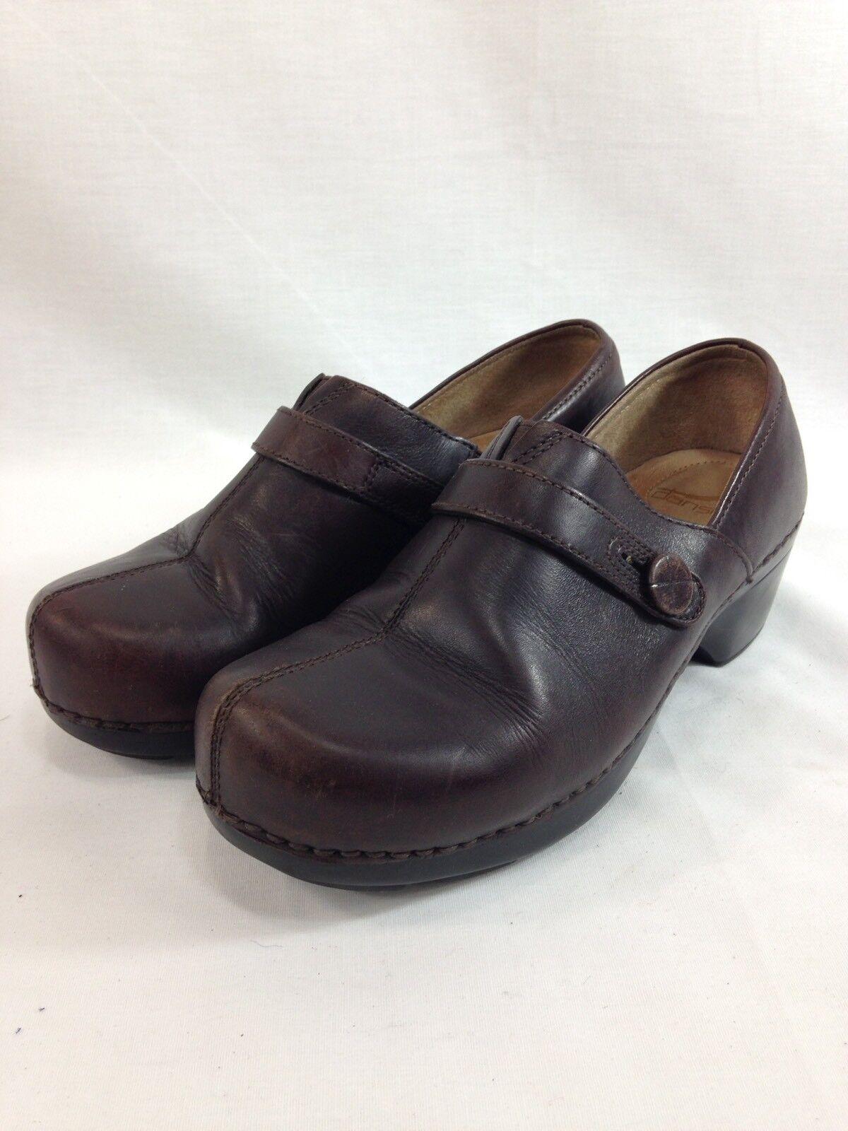 Dansko Zapatos para mujer EU 39 nos nos nos 8.5 Marrón Cuero Slip On Suecos botón Comodidad Mula  Envíos y devoluciones gratis.