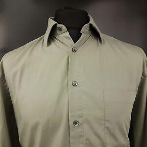 HUGO-BOSS-Mens-Formal-Shirt-41-16-LARGE-Long-Sleeve-Beige-Regular-Fit-Cotton