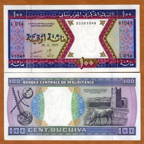 100 Ouguiya Cow 4i P-4 UNC /> Musical Instruments Mauritania Fort 1999