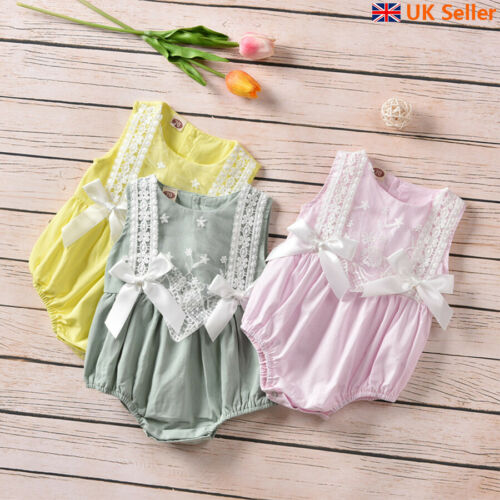 UK Newborn Baby Girl Bowknot Lace Jumpsuit Romper Crawling Suit Bodysuit Outfits