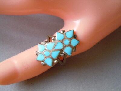 Precious Metal Without Stones Großer Echter Silber Ring Mit Türkisfarbener Einlage 4,3 G/rg 55