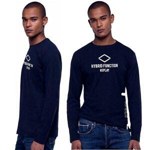 REPLAY-t-shirt-da-uomo-manica-lunga-girocollo-maglietta-cotone-blu-maglia-hybrid