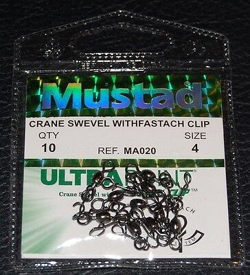 10 Pack Mustad Crane Swivel with Fastach Clip MA020-04 Quick Change Size 4