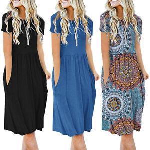 Women's Short Sleeve Pockets Empire Waist Pleated Loose Swing Flare Dress