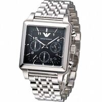 Emporio Armani Mens Chronograph Watch Stainless Steel Strap Black Dial Ar1626