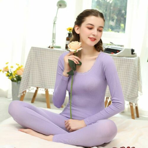 Women Thermal Underwear Set Jacquard Thin Soft Long Sleeve Tops Pants Pajamas