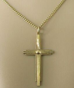 Collar de Oro de 9ct - 9ct Oro Amarillo Cruz Colgante & Cadena (4.7g)