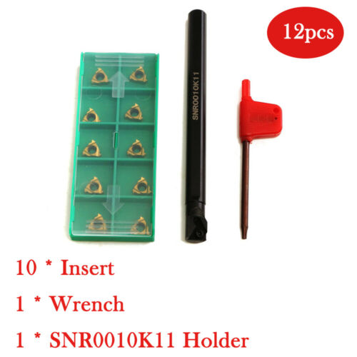 SNR0010K11 Lathe Boring Bar Turning Holder+10x 11IR A60 Inserts Blades Kit Set