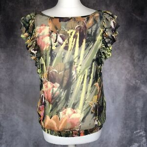 Ted-Baker-Verde-Floral-semi-transparentes-Blusa-Talla-2-Reino-Unido-10-Elastico-Cintura-ocasion