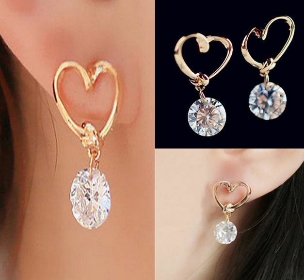 Women Jewelry 18k GOLD plated Ear Hook white  Crystal Rhinestone Earrings 1 pair