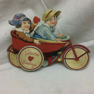 Vintage-Valentine-039-s-Day-Cards-Bicycle-with-Side-Car