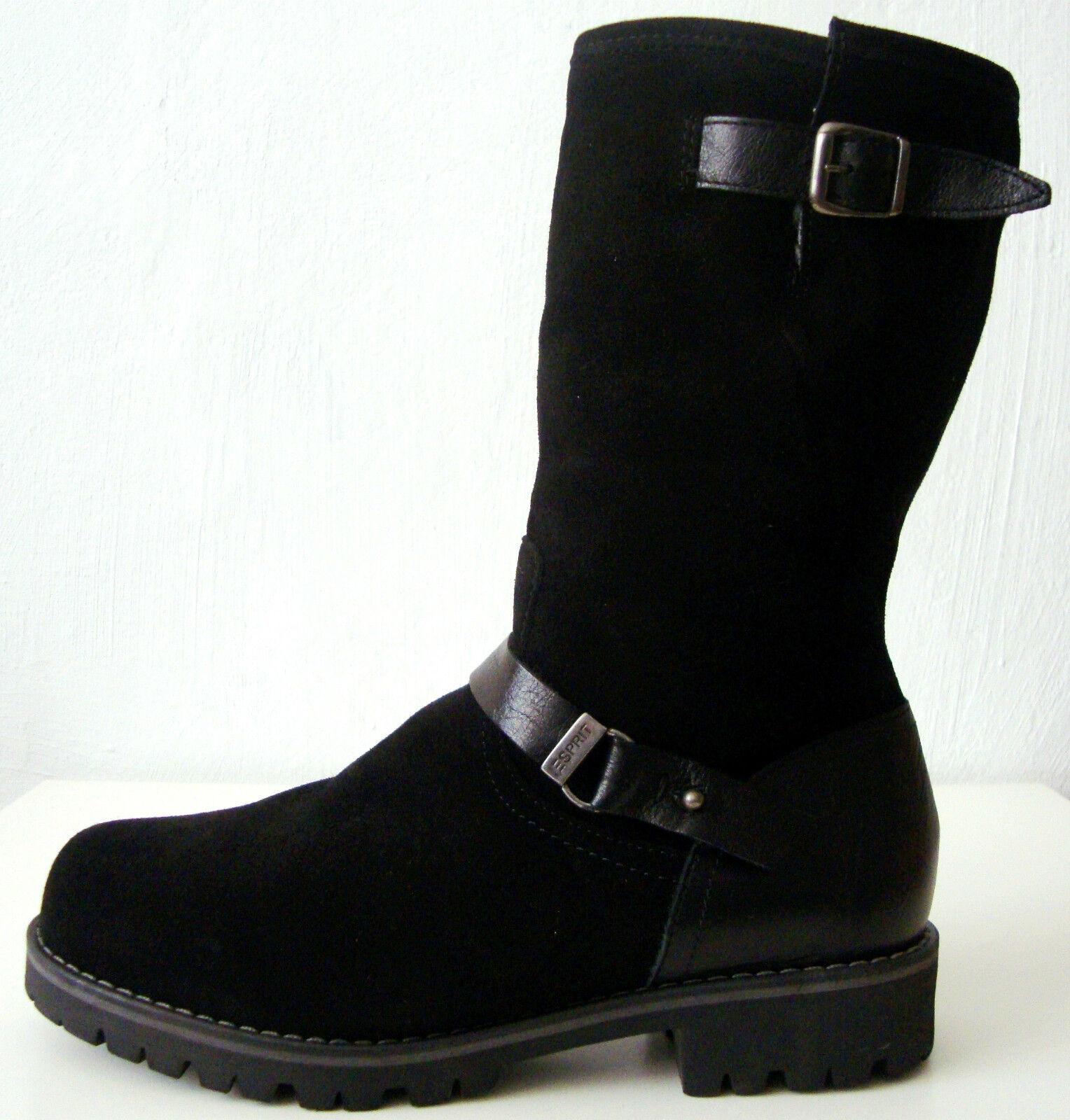 ESPRIT Damen Stiefel Schwarz Leder Boots Wadenhohe Winterstiefel Schwarz Stiefel Gr.37 NEU d34ff6
