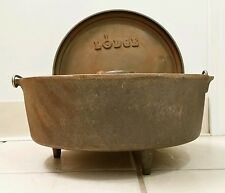 Vintage NOS #12 LODGE USA Cast Iron 3 Leg Dutch Oven w/Raised Edge Lid #12CO D