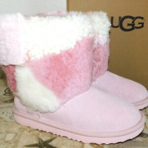 e4912906658 Details about NEW KIDS GIRLS 3 BABY PINK UGG CLASSIC SHORT PATCHWORK FLUFF  SHEEPSKIN BOOTS