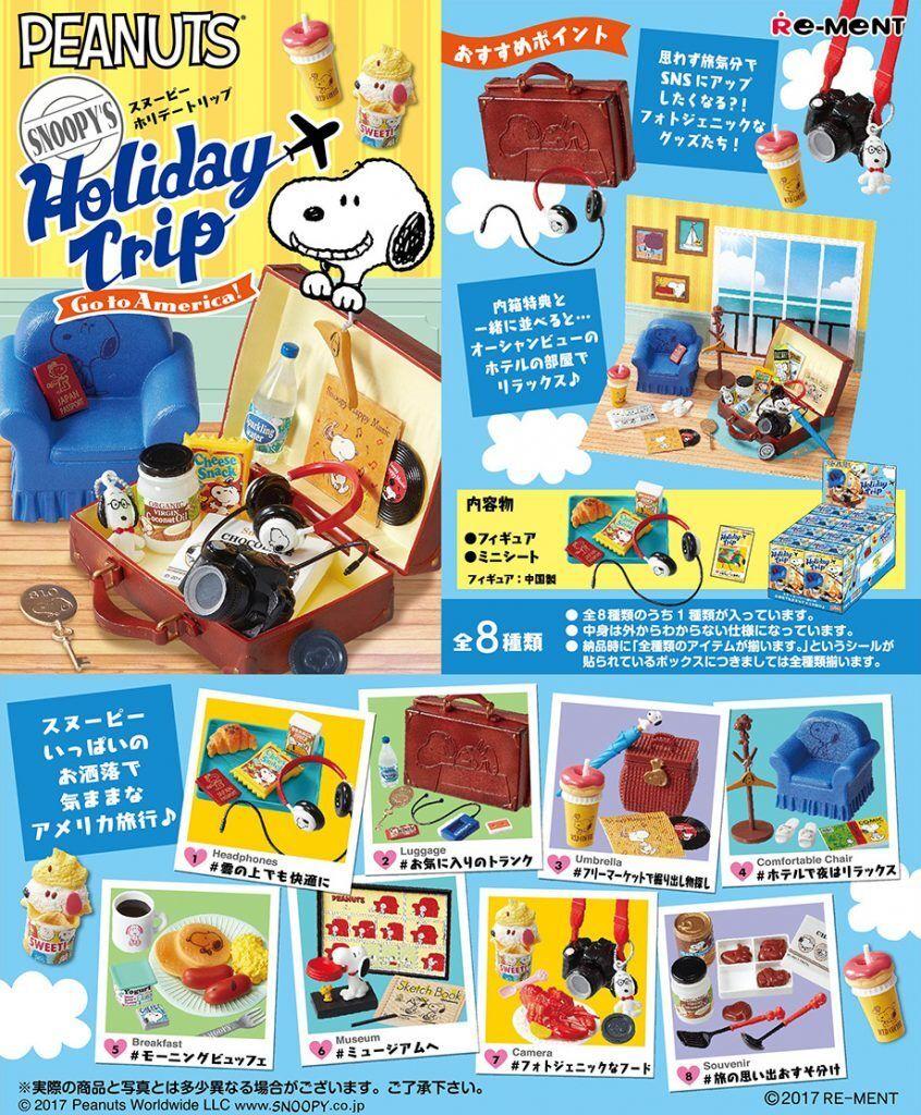 Re-ment Miniatura Peanuts Snoopy Vacaciones Viaje ir a América conjunto completo de 8 piezas