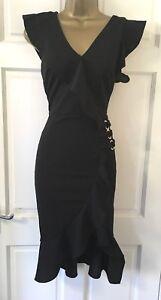 Women-039-s-New-Black-Frill-Wrap-Party-Evening-Bodycon-Pencil-Dress-Size-8