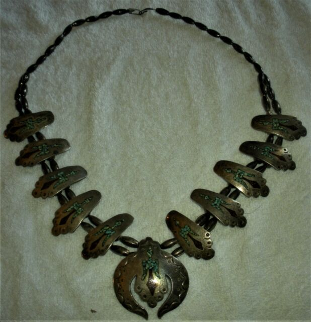 c1960 NAVAJO STERLING SILVER SQUASH BLOSSOM THUNDERBIRD TURQUOISE NECKLACE vafo