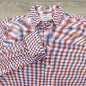 Charles-Tyrwhitt-Men-039-s-Shirt-16-34-Classic-Fit-French-Flip-Cuff-Red-Blue-Check