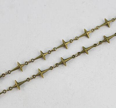 1 Meter of Antiqued bronze cross link handmade chain #22911