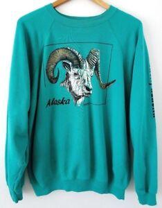 Vtg-80s-Teal-Ninilchik-Alaska-RAM-Skate-Grunge-50-50-Distressed-Sweatshirt-L