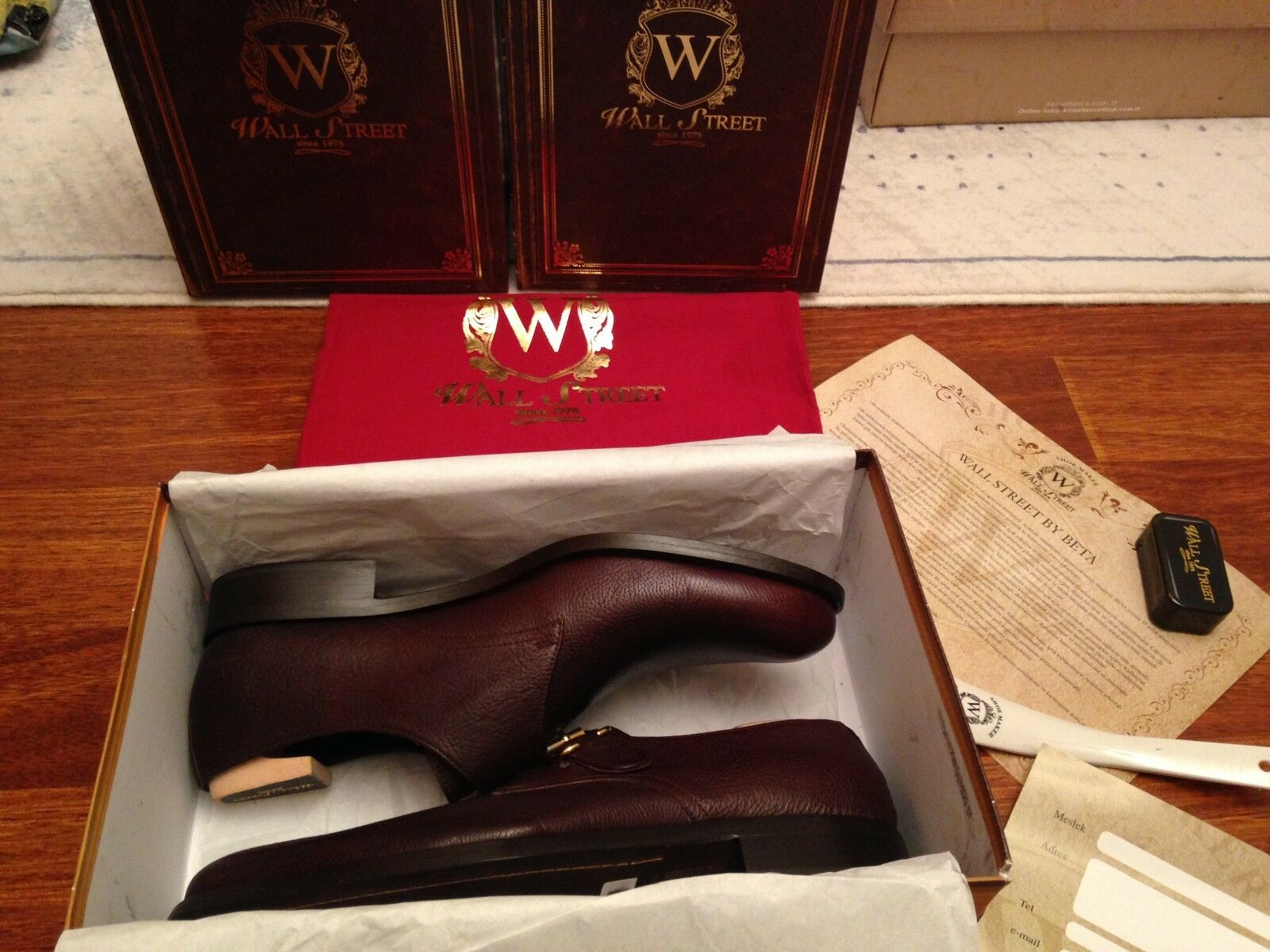 WALL STREET Hand Made Certified Uomo Shoes. All pelle. Brown Color.