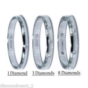 NUOVO-950-marchiato-PLATINUM-anello-nuziale-forma-D-2mm-2-5-mm-3mm-Diamante-Set-1-3-8