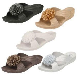 Spot On Ladies Mid Wedge Sandal