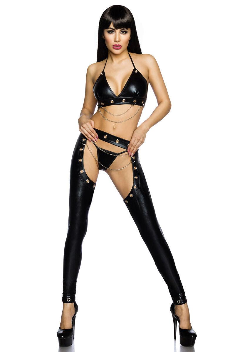 SEXY komplett SET schwarz WETLOOK 3 Stück TOP+CHAPS+String fashion
