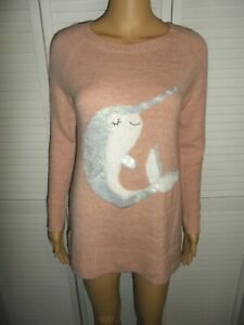 Pretty-LC-Lauren-Conrad-size-XL-pink-sweater-sequin-Narwhal-on-the-front-women