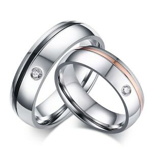 0a375ebaeb Titanium Steel CZ Engagement Promise Couple Ring Men/Women's Wedding ...