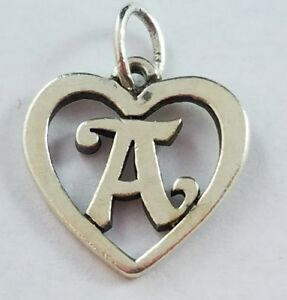 Details About Retired James Avery Sterling Silver Cursive Letter A Inside A Heart Charm