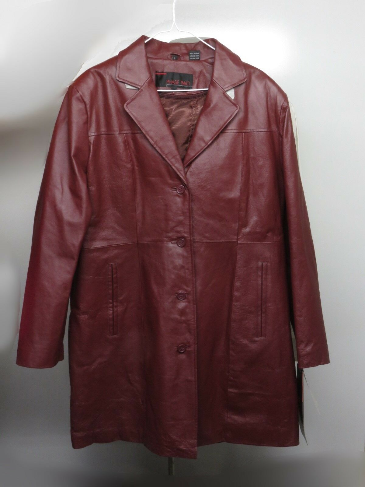 PHASE TWO Womens LEATHER Coat Size L Wine color NEW NWT