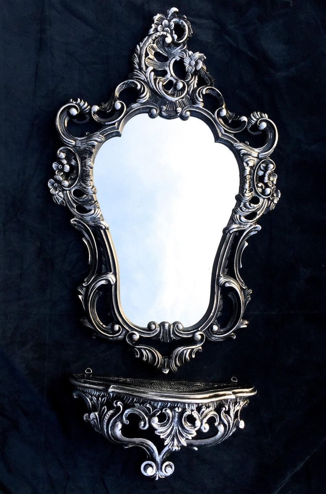 Miroir Mural Noir Argent Baroque Avec Support Mural Antique 50X76 plateau NEUF