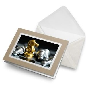 Greetings-Card-Biege-Golden-Knight-Chess-Board-Game-16163