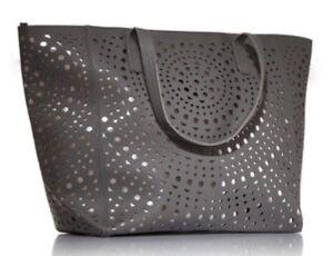 Bath Body Works Gray Tote Bag Metallic Large Purse Vip