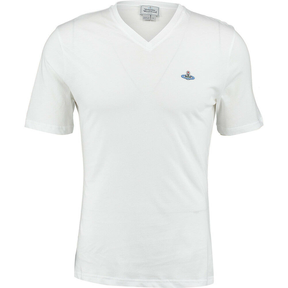 VIVIENNE WESTWOOD Man Branded Orb Logo Weiß T-Shirt BNWT