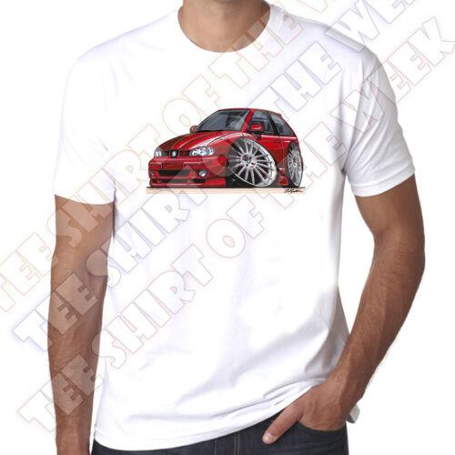WickedArtz Cartoon Car Red Seat Ibiza 2000 mens 100/% Cotton White  T-shirt