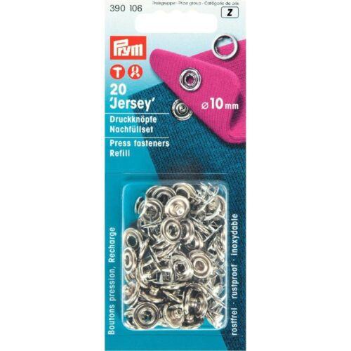 390106 Jersey Press Studs Refill  10 mm Silver 20 pcs