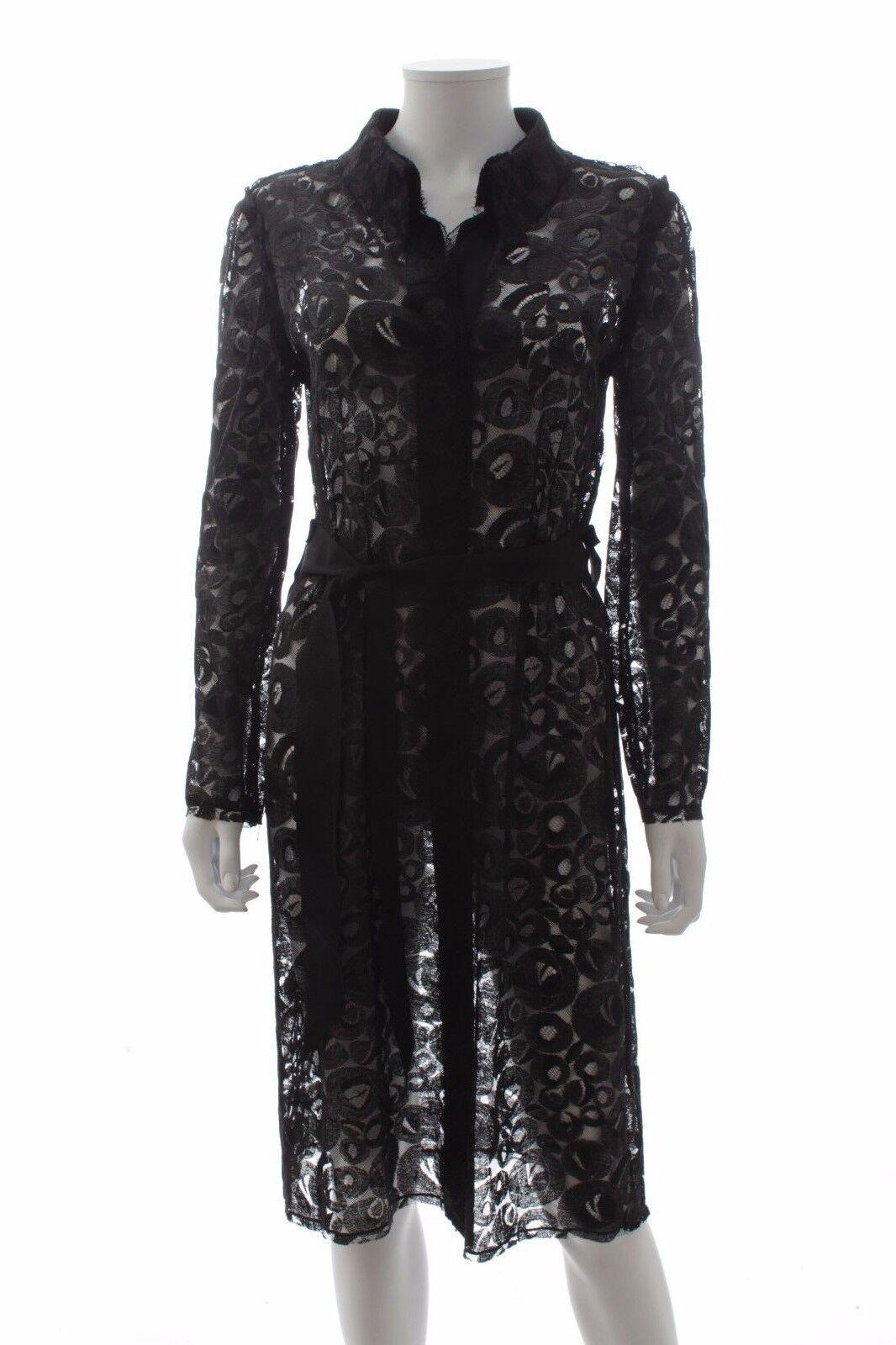 Lanvin lang mit Gürtel Spitze Mantel   schwarz