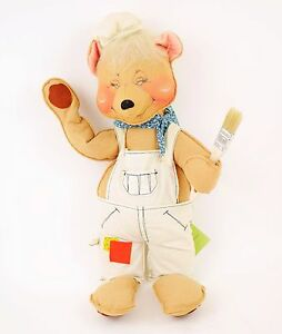 VINTAGE-ANNALEE-Large-Plush-Bear-Painter-Artist-In-Overalls-amp-Hat-18-5-034-TALL