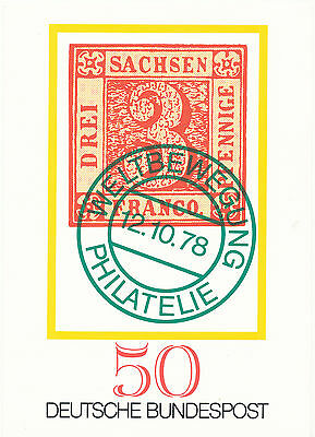 1 Karte Wltbewegung Philatelie 12.10.78 5 Jahre Deutsche Bundespost Exquisite Traditionelle Stickkunst
