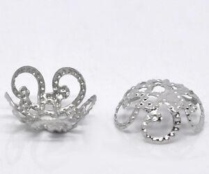 500-Silberfarbe-Blume-Perlen-Beads-Ende-Kappen-10x4mm