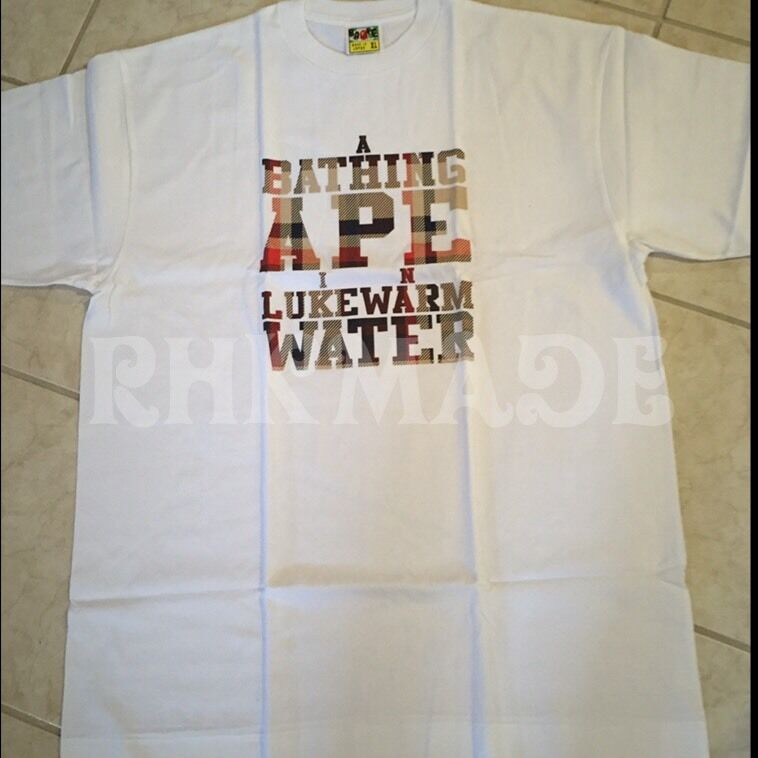 A Bathing Ape In Lukewarm Water Tee rot Plaid Bape Nigo Kanye